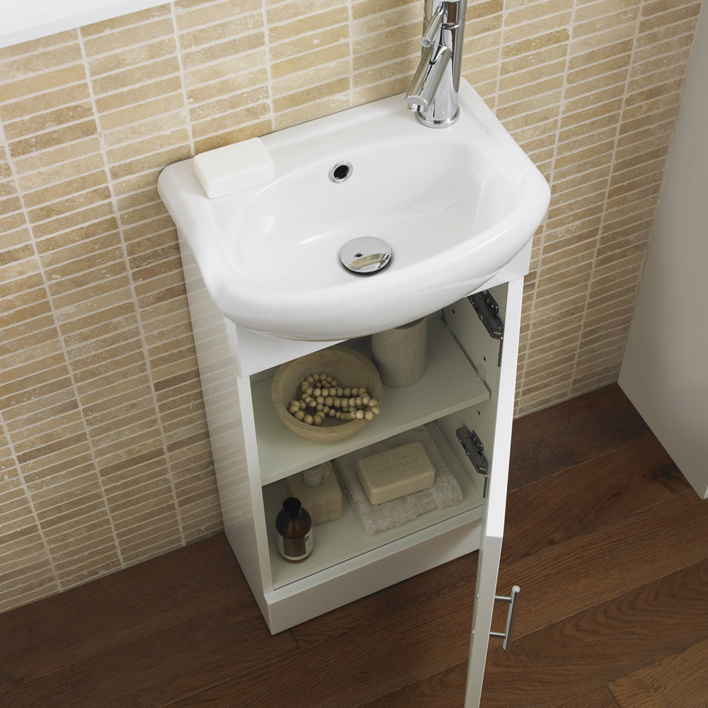 Melbourne Close Coupled Toilet with 420mm Cabinet and Basin Set Standard Large Image