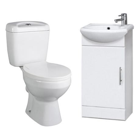 Melbourne Close Coupled Toilet with 420mm Cabinet and Basin Set