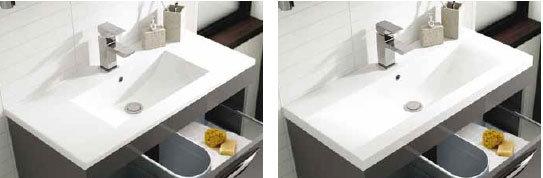 Memoir Gloss Grey Floor Mounted Cabinet Minimalist and Mid-Edged Basin options