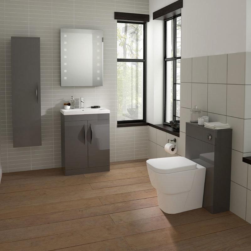 Hudson Reed Memoir 600mm 2 Door Floor Mounted Basin & Cabinet - Gloss Grey - 2 Basin Options profile large image view 2