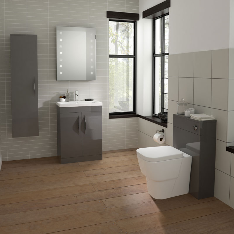 Hudson Reed Memoir 800mm 2 Drawer Floor Mounted Basin & Cabinet - Gloss Grey - 2 Basin Options profile large image view 2