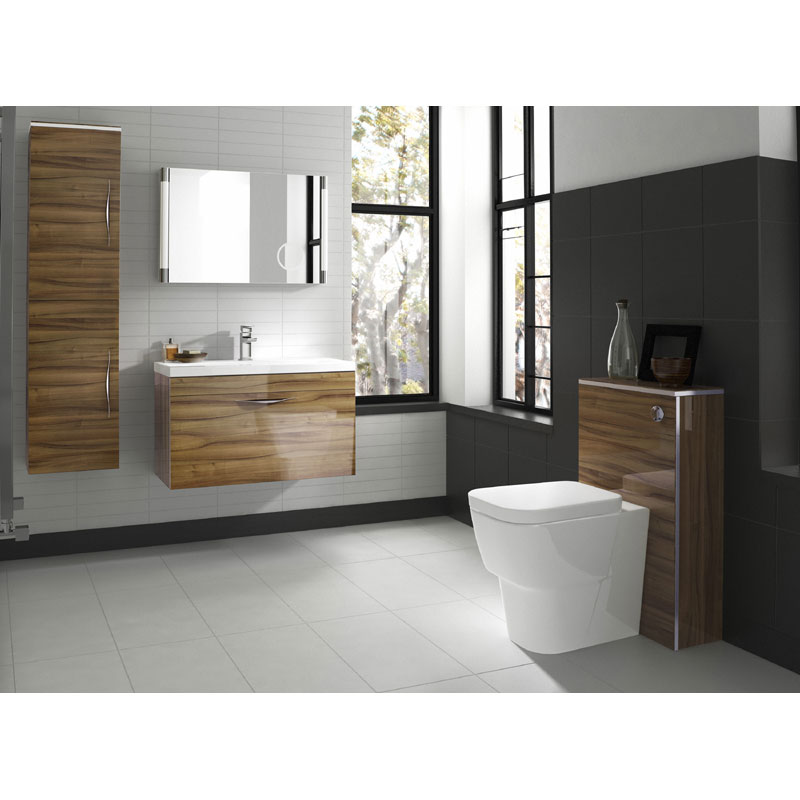 Hudson Reed Memoir 800mm 1 Drawer Wall Mounted Basin & Cabinet - Gloss Walnut - 2 Basin Options Profile Large Image