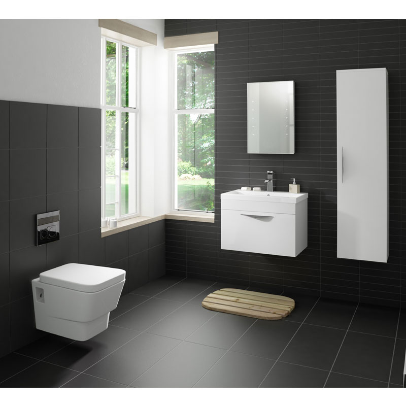 Hudson Reed Memoir 600mm 1 Drawer Wall Mounted Basin & Cabinet - Gloss White - 2 Basin Options profile large image view 2