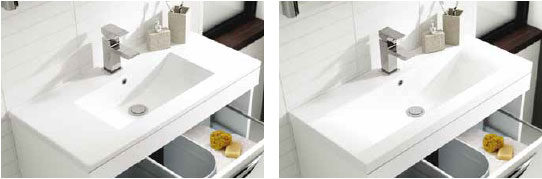 Showing the difference between the two types of basin available