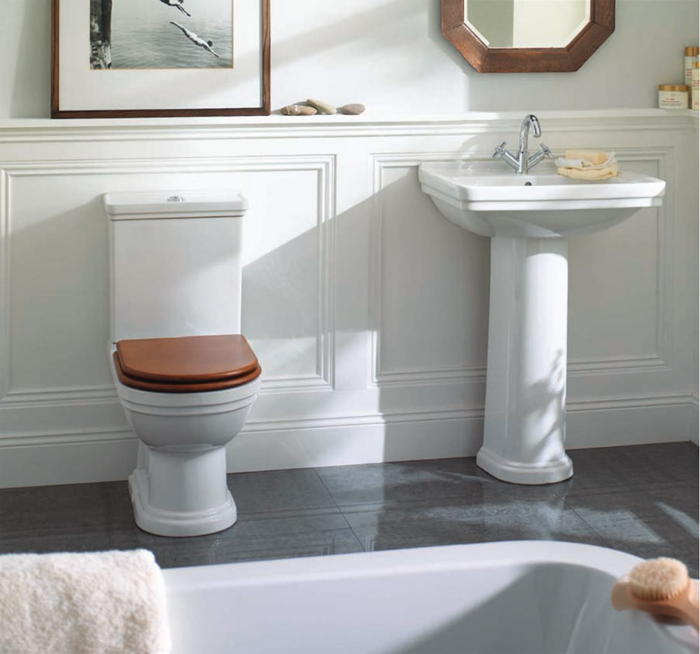 Mere - Aristo Bathroom Suite with Walnut Soft Close Seat Large Image