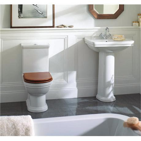 Mere - Aristo Bathroom Suite with Walnut Soft Close Seat