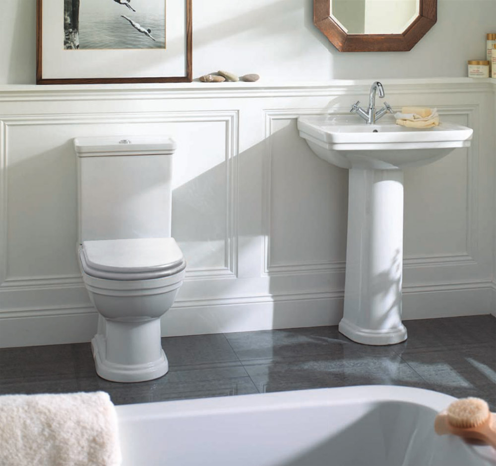 Mere   Aristo Traditional Bathroom Suite With White Soft Close Seat At  Victorian Plumbing UK