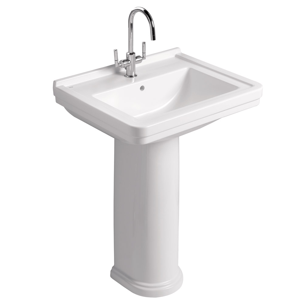 Mere - Aristo Traditional 60cm Washbasin 1TH with full pedestal profile large image view 1