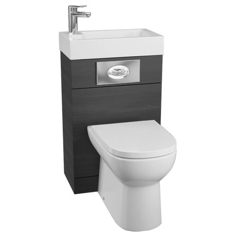 Metro 500 Black Ash Combined 2-In-1 Wash Basin + Toilet