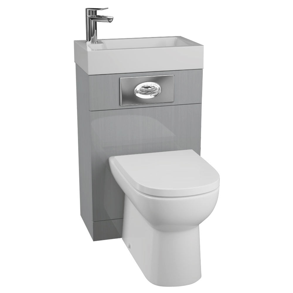 Metro 500 Gloss Grey Combined 2-In-1 Wash Basin + Toilet