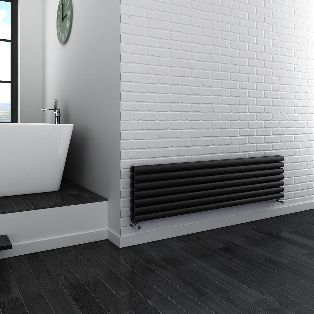 Metro Horizontal Radiator - Anthracite - Double Panel (1600mm Wide) profile large image view 3