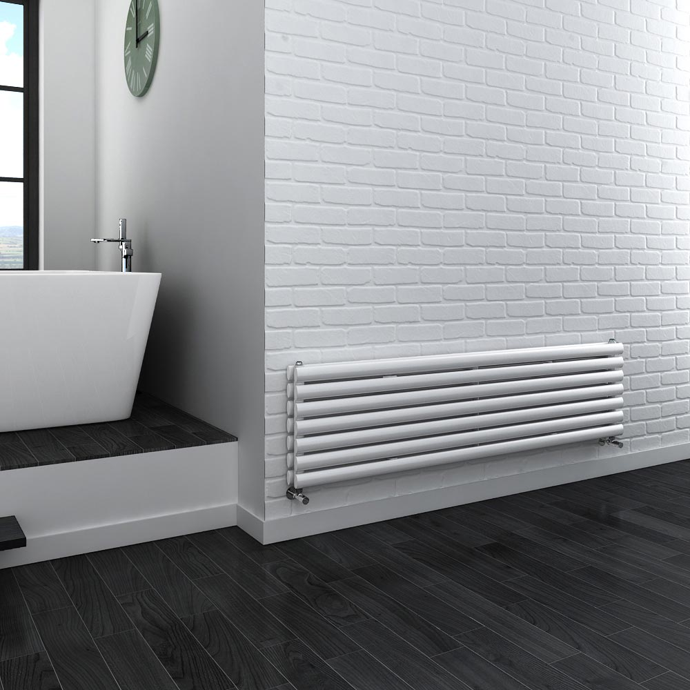 Metro Horizontal Radiator - White - Double Panel (1600mm Wide) Feature Large Image