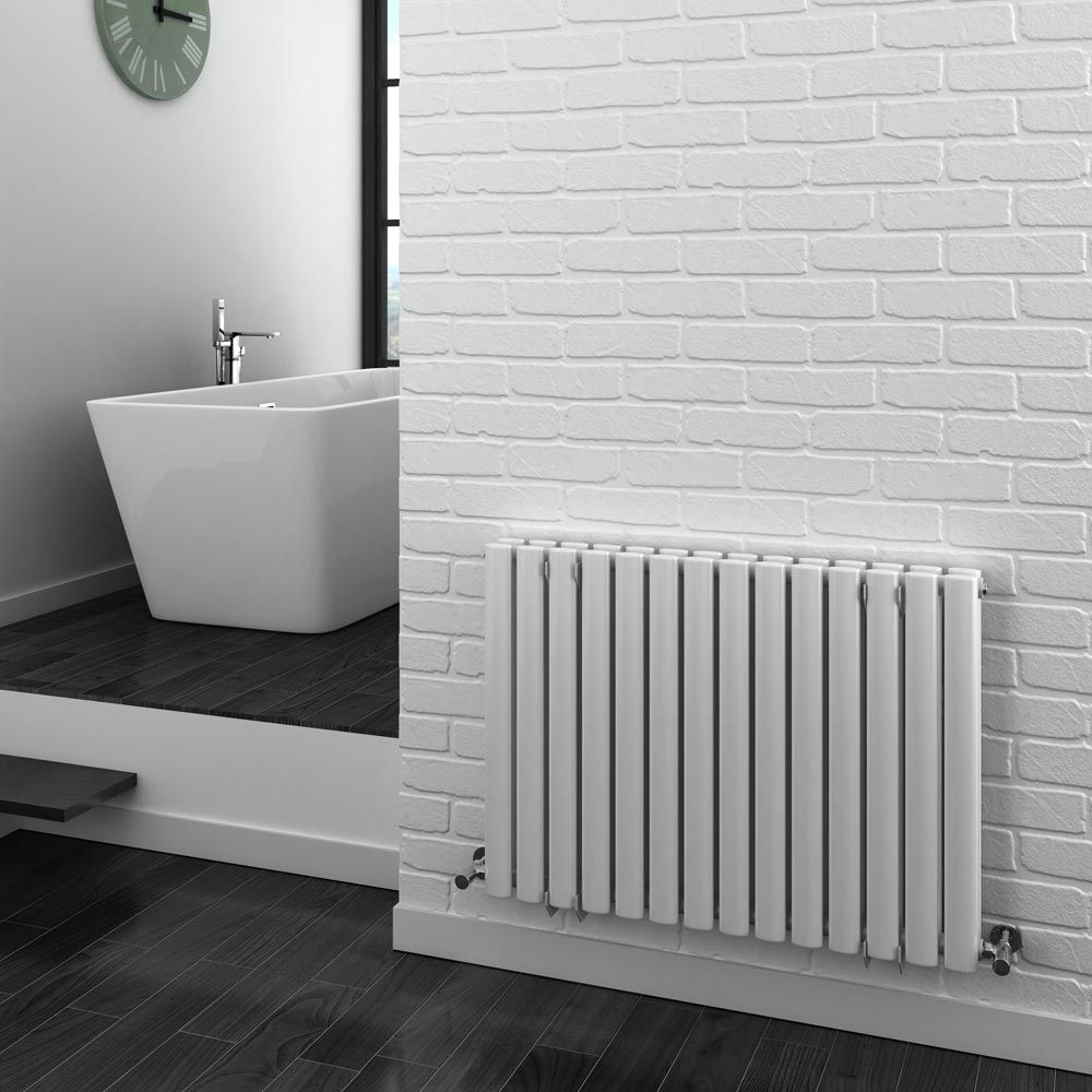 Metro Horizontal Radiator - White - Double Panel (600mm High) Feature Large Image