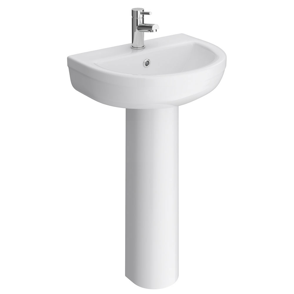 Metro Modern Basin with Full Pedestal (1 Tap Hole - Various Sizes) Large Image