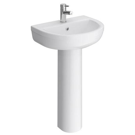 Metro Modern Basin with Full Pedestal (1 Tap Hole - Various Sizes)