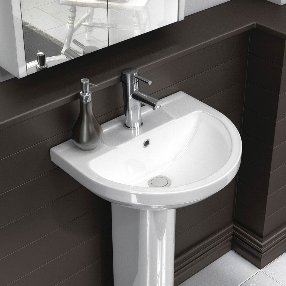 Metro Modern Basin with Full Pedestal (1 Tap Hole - Various Sizes)  Profile Large Image