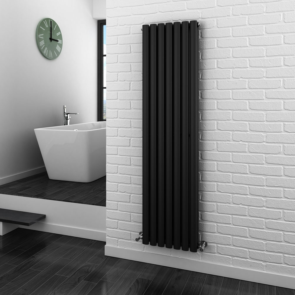 Metro Vertical Radiator - Anthracite - Double Panel (1600mm High) - Close up image of a gorgeous anthracite double panel radiator in a modern bathroom with white walls