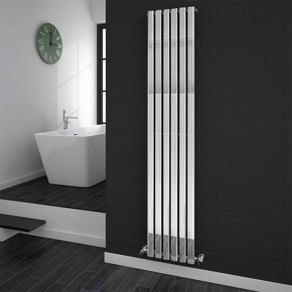 Metro Vertical Radiator - Chrome - Single Panel (H1800 x W354mm) profile large image view 1