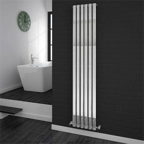 Metro Vertical Radiator - Chrome - Single Panel (H1800 x W354mm)