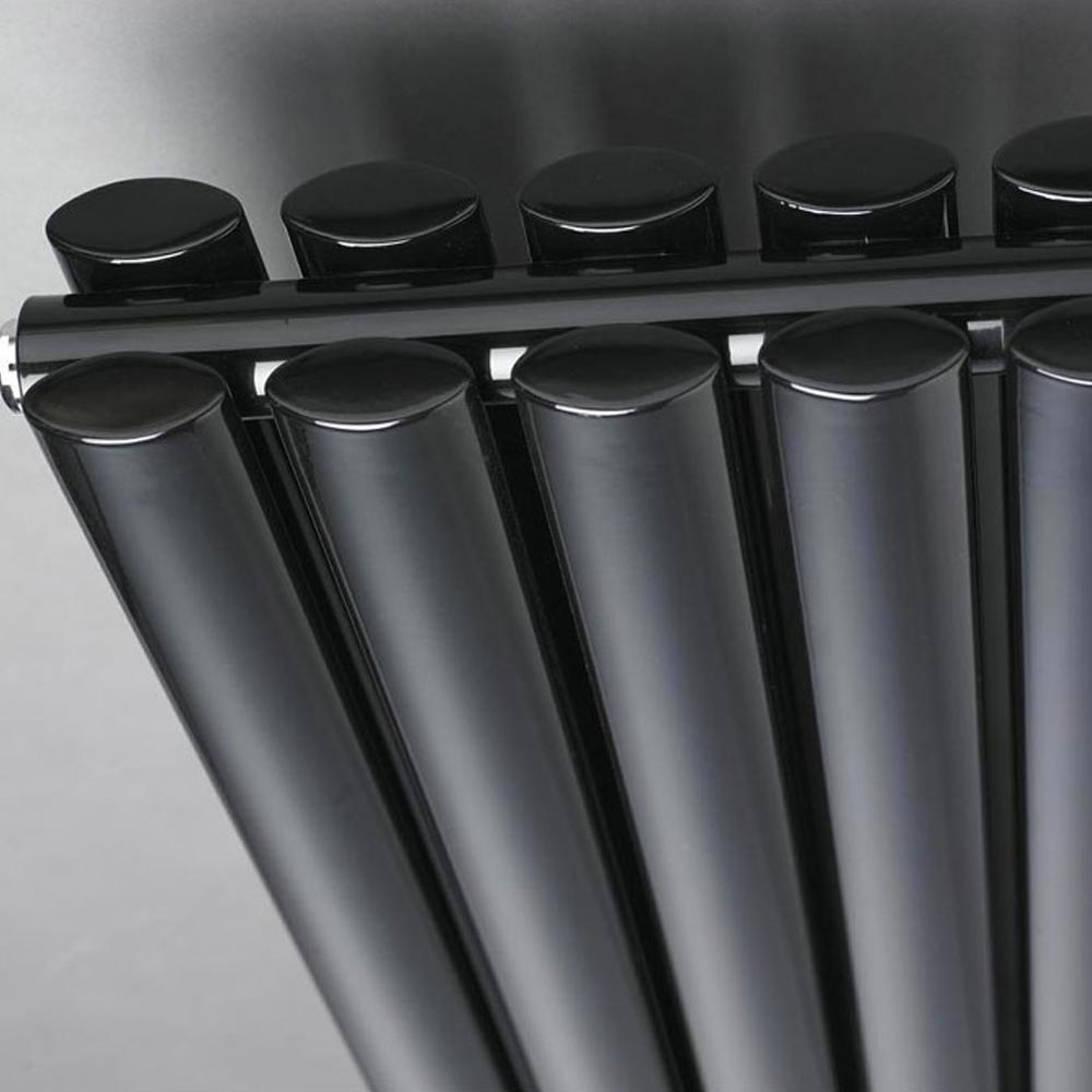 Metro Vertical Radiator - Gloss Black - Double Panel (1800mm High) profile large image view 2