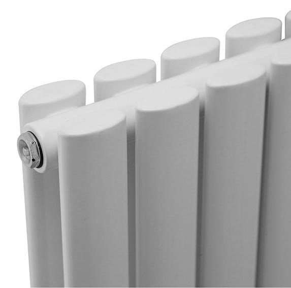 Metro Vertical Radiator - White - Double Panel (1800mm High)  Profile Large Image