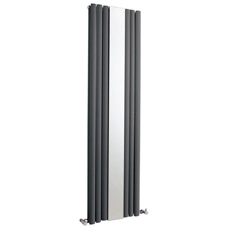 Metro Vertical Radiator with Mirror - Anthracite - Double Panel (H1800 x W499mm) Large Image