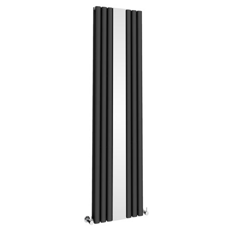 Metro Vertical Radiator with Mirror - Anthracite - Double Panel (H1800 x W499mm)
