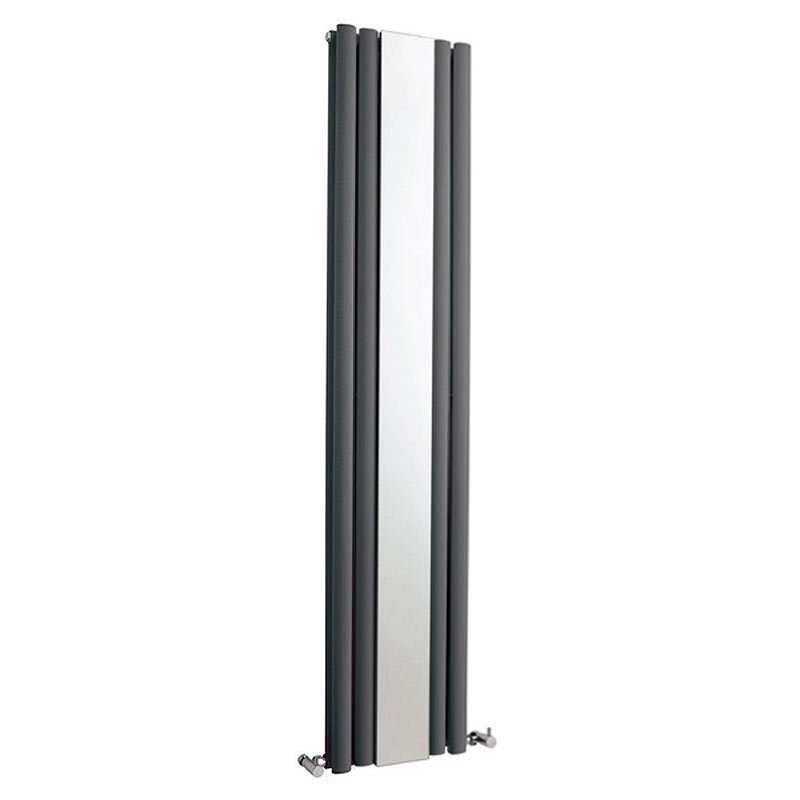 Metro Vertical Radiator with Mirror - Anthracite - Double Panel (1800mm High) Large Image