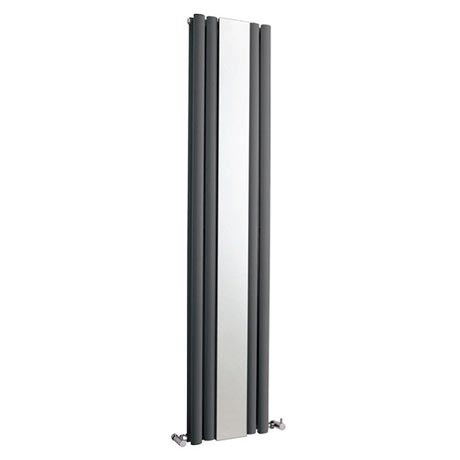 Metro Vertical Radiator with Mirror - Anthracite - Double Panel (1800mm High)