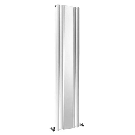 Metro Vertical Radiator with Mirror - White - Double Panel (1800mm High)