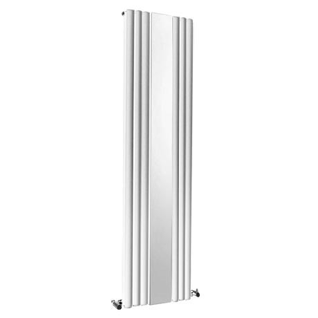 Metro Vertical Radiator with Mirror - White - Double Panel (H1800 x W499mm)