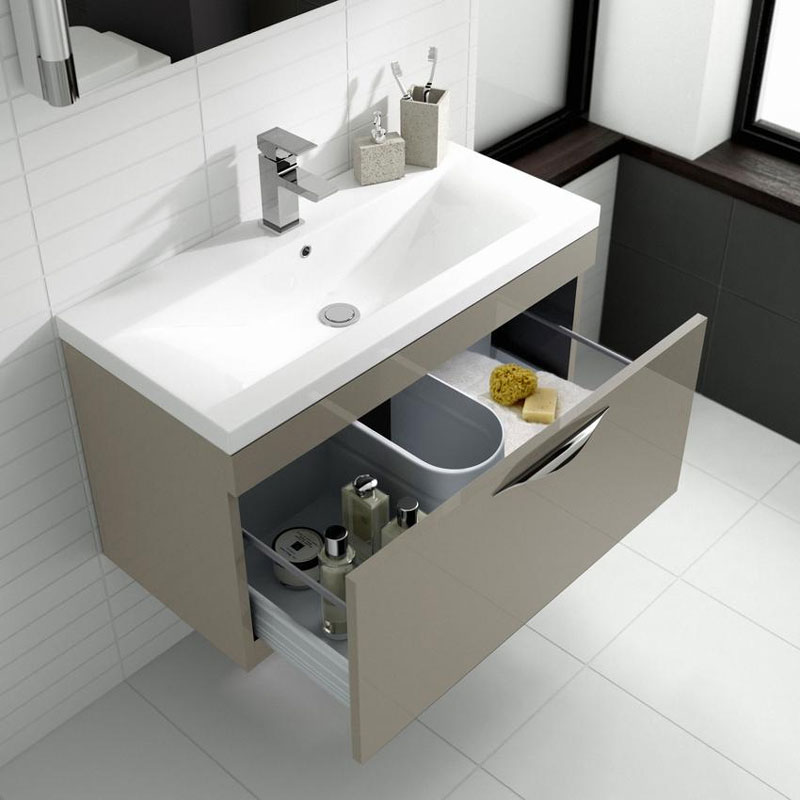 Hudson Reed Memoir 800mm 1 Drawer Wall Mounted Basin & Cabinet - Gloss Cashmere - 2 Basin Options Feature Large Image