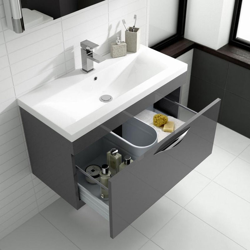 Hudson Reed Memoir 800mm 1 Drawer Wall Mounted Basin & Cabinet - Gloss Grey - 2 Basin Options Feature Large Image