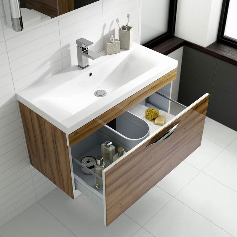 Hudson Reed Memoir 800mm 1 Drawer Wall Mounted Basin & Cabinet - Gloss Walnut - 2 Basin Options Standard Large Image