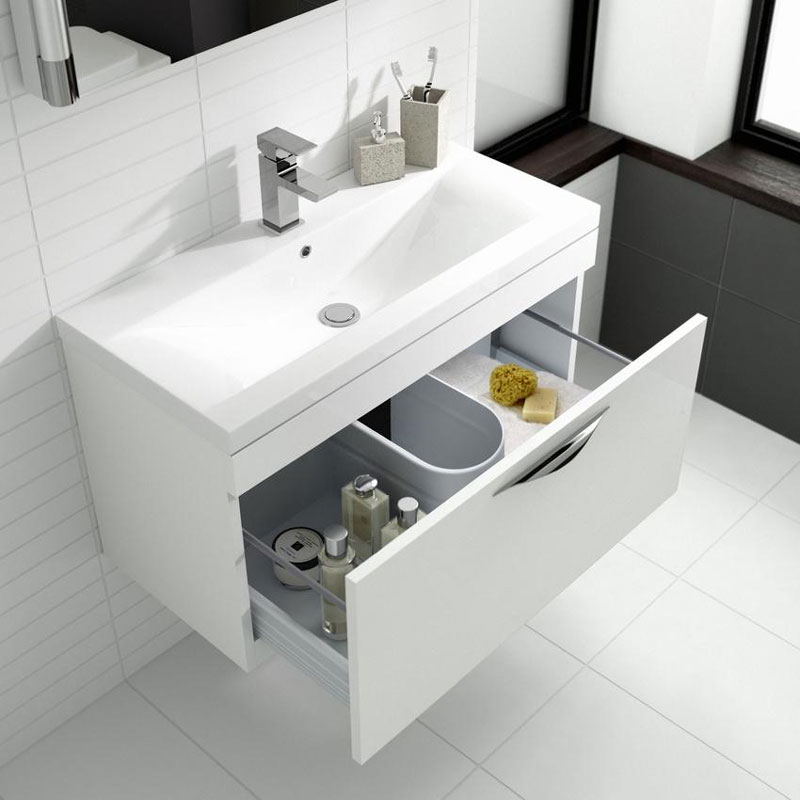 Hudson Reed Memoir 800mm 1 Drawer Wall Mounted Basin & Cabinet - Gloss White - 2 Basin Options Standard Large Image