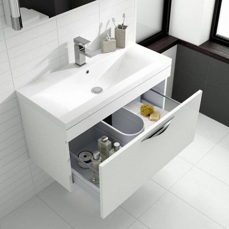 Hudson Reed Memoir 800mm 2 Drawer Floor Mounted Basin & Cabinet - Gloss White - 2 Basin Options profile large image view 3