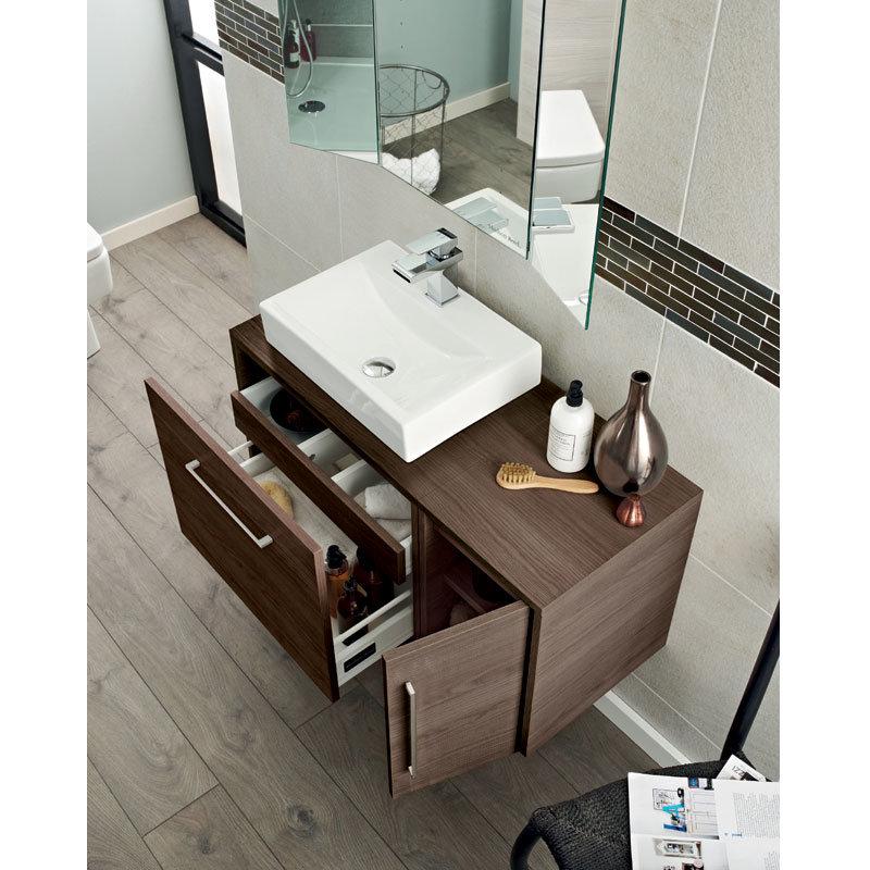 Hudson Reed - Horizon 600mm 1 Drawer Cabinet and Worktop - Mid Sawn Oak - FHZ010 Profile Large Image