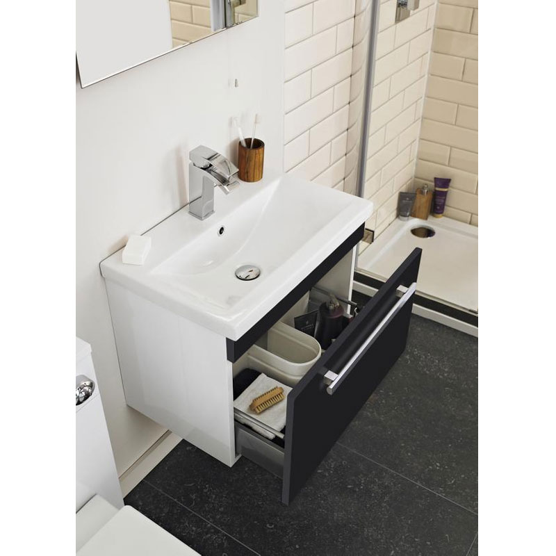 Ultra Design 600mm 1 Drawer Wall Mounted Basin & Cabinet - Gloss Black - 2 Basin Options Feature Large Image