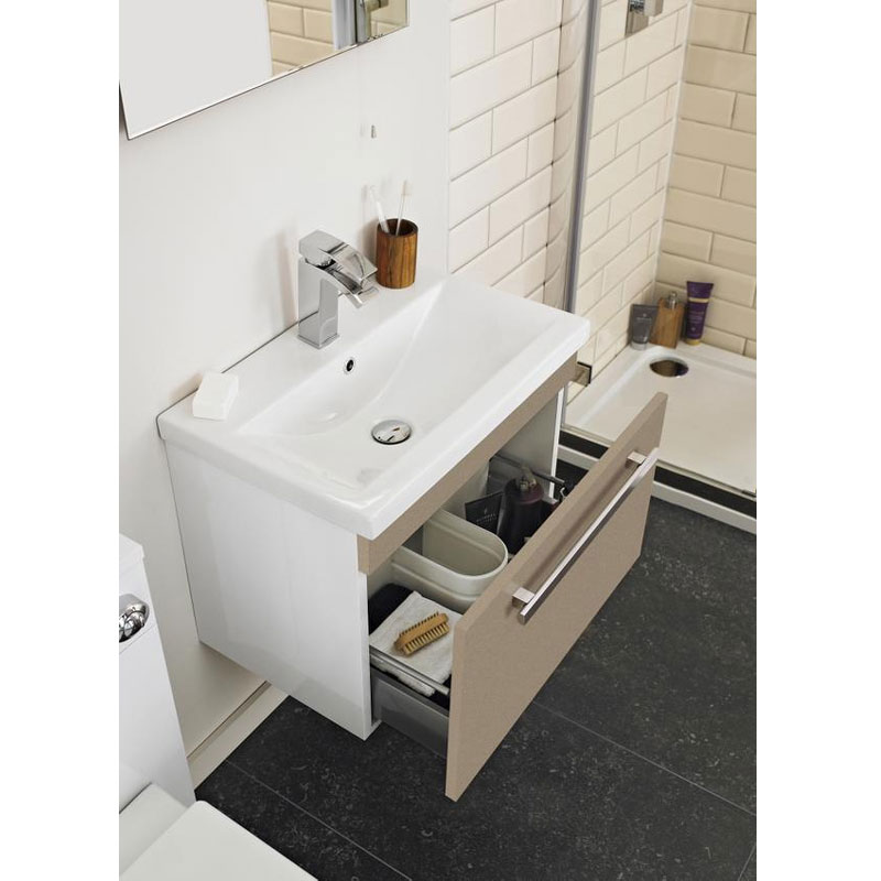 Ultra Design 600mm 1 Drawer Wall Mounted Basin & Cabinet - Gloss Caramel - 2 Basin Options Feature Large Image