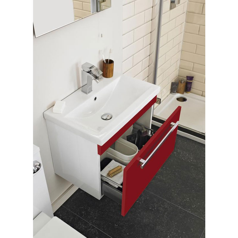 Ultra Design 600mm 1 Drawer Wall Mounted Basin & Cabinet - Gloss Red - 2 Basin Options profile large image view 3