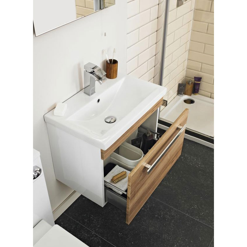Ultra Design 800mm 1 Drawer Wall Mounted Basin & Cabinet - Natural Walnut - 2 Basin Options Feature Large Image