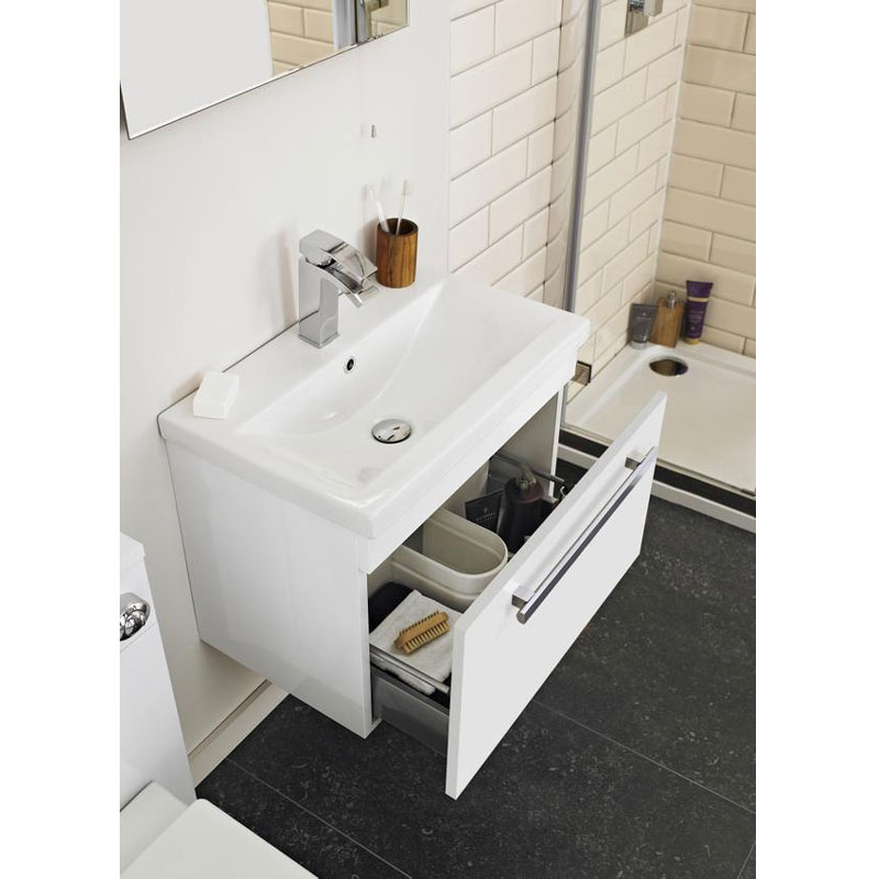 Ultra Design 800mm 1 Drawer Wall Mounted Basin & Cabinet - Gloss White - 2 Basin Options Feature Large Image