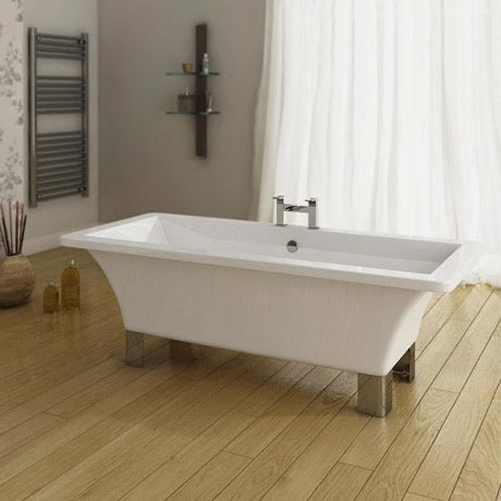 Milan Square Modern Roll Top Bath with Legs - 1520mm