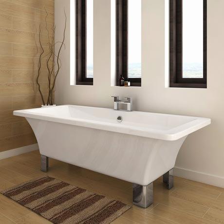 Milan 1690 Modern Square Roll Top Bath with Chrome Leg Set