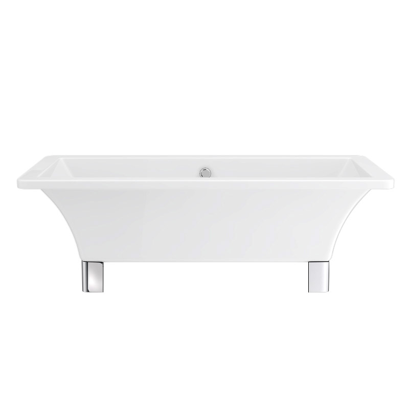 Milan 1690 Modern Square Roll Top Bath with Chrome Leg Set Profile Large Image