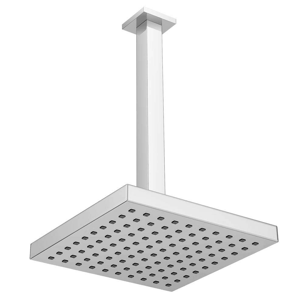 Milan 200 x 200mm Fixed Square Shower Head with Ceiling Mounted Arm Large Image