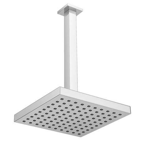 Milan 200 x 200mm Fixed Square Shower Head with Ceiling Mounted Arm