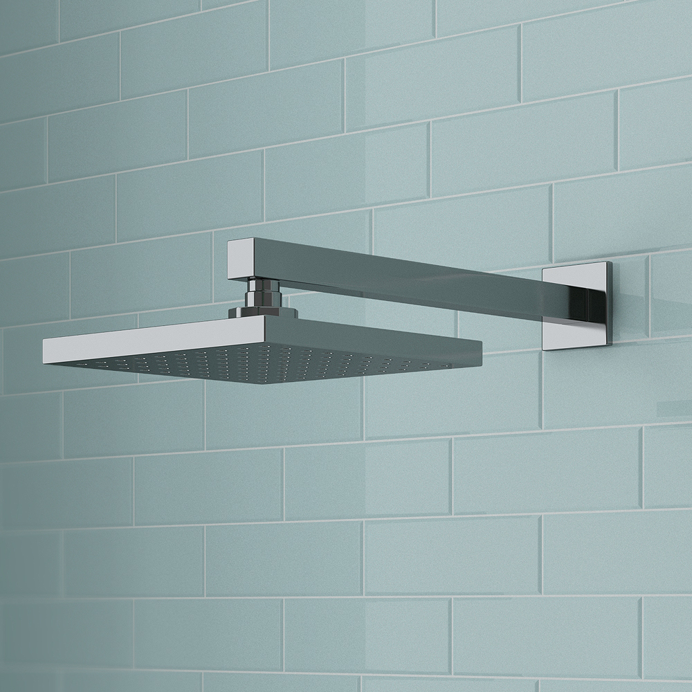 Milan 200 x 200mm Fixed Square Shower Head + Wall Mounted Arm profile large image view 3
