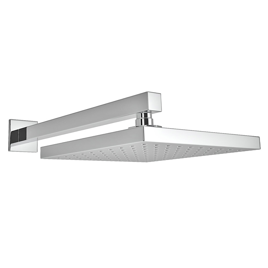 Milan 200 x 200mm Fixed Square Shower Head + Wall Mounted Arm profile large image view 1