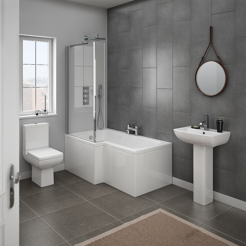 Milan 4 piece modern bathroom suite from victorian for Small 4 piece bathroom designs